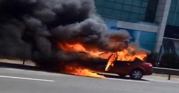 Basın Ekspres'te araç yangını! Trafik kilit