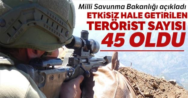 MSB: 'Etkisiz hale getirilen terörist sayısı 45 oldu'