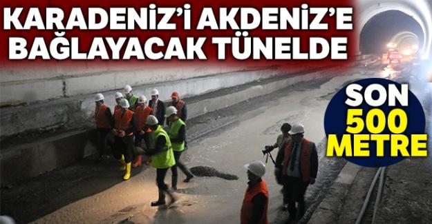 Karadeniz'i Akdeniz'e bağlayacak tünelde son 500 metre kaldı