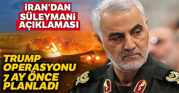 İran'dan Süleymani açıklaması