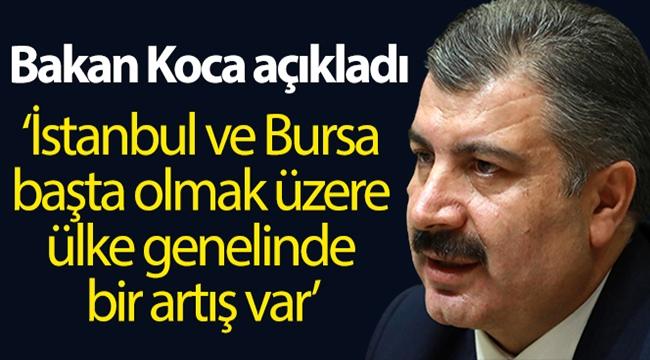 """Bakan Koca: """"İstanbul ve Bursa başta olmak üzere ülke genelinde bir artış var"""""""