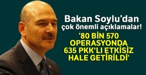 Bakan Soylu: '80 bin 570 operasyonda 635 PKK'lı etkisiz hale getirildi'